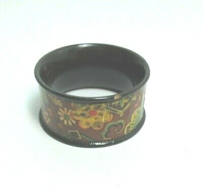 ANTIQUE BLACK MAUCHLINE TRANSFER WARE NAPKIN HOLDER RING