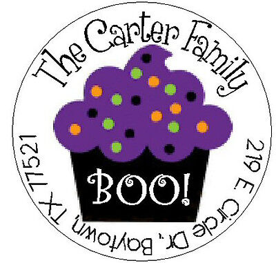 CUTE HALLOWEEN CUPCAKE -  Return Address Labels.