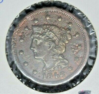 1846 SMALL DATE BRAIDED HAIR LARGE CENT COIN
