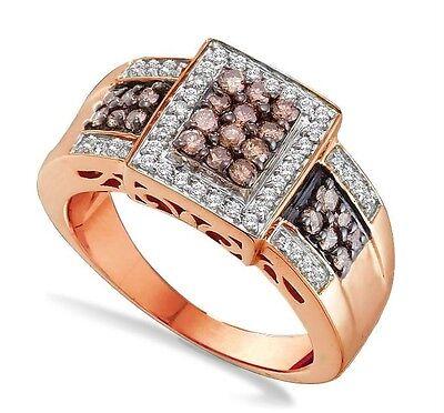 Exclusive 100% 10k Rose Gold Genuine Chocolate Brown & White Diamond Ring .67ct