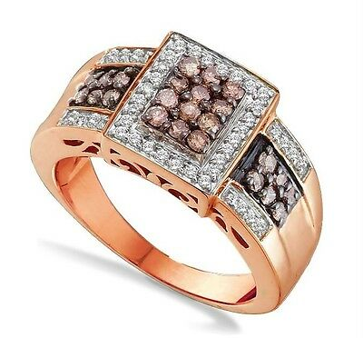 Exclusive 100% 10k Rose Gold Genuine Chocolate Brown & White Diamond Ring .67ct
