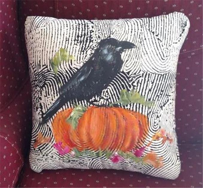 """Hand Painted Raven Pumpkin Bird Fall Decorative Pillow Original Art Made USA 16"""""""
