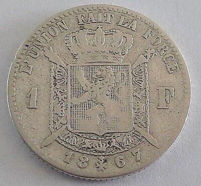 ===>>> 1 Franc 1867 1 Frank Leopold II Belgique Belgïe FR <<<===