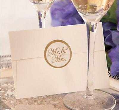 "100 Gold ""Mr. & Mrs."" Envelope Seals Sticker Wedding Thank You, Invitation"