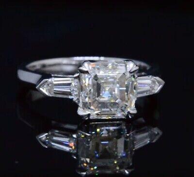 2.80 Ct Asscher & Bullet Cut Diamond 3-Stone Engagement Ring G,VS1 GIA 14K WG