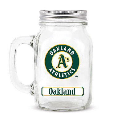Oakland Athletics Mason Jar - 20oz Glass With Lid [NEW] MLB Mug Pint CDG