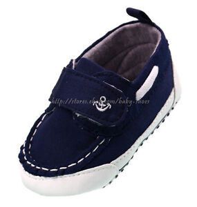 Toddler Baby Boy Navy Boat Shoes Crib Sneakers Size 0 6 6