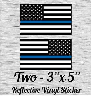 "Police Officer Thin Blue Line reflective American Flag Decal Sticker 3"" x 5"" (2)"