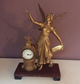 Antique vintage large decorative clock and figure - La Gloire Par Geo Maxim
