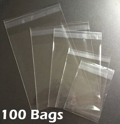 100 Clear Resealable Recloseable Self Adhesive Seal Cello Lip Tape Plastic Bags