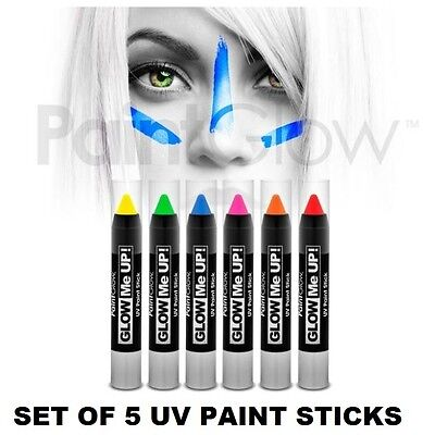 Set Of 5 NEON UV PAINT STICK Body & Face Paint Stick Make Up Fancy Dress Party