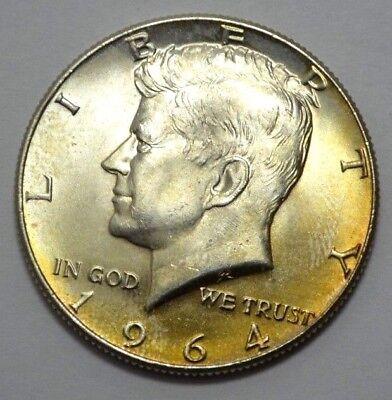 1964 Natural - 1964-P NATURAL TONING KENNEDY HALF DOLLAR 90% Silver, 50c Uncirculated !