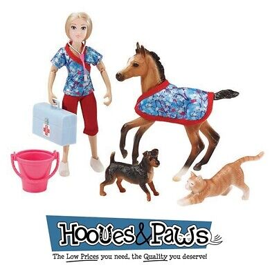 """Breyer Classics Day At The Vet 6"""" Doll and Pony and Cat Dog Toys #62028"""