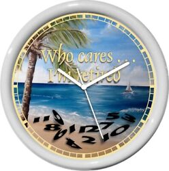 Personalized Who Cares 2  I'm Retired Wall Clock Beach Home Ocean Gift