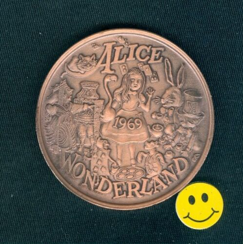 ALICE In WONDERLAND & TURTLE Heavy Ox Copper Doubloon Coin 1969 Rare