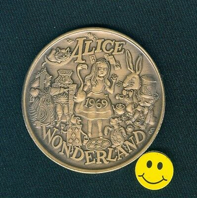 ALICE In WONDERLAND & TURTLE Heavy Antique Bronze Doubloon Coin 1969 Rare