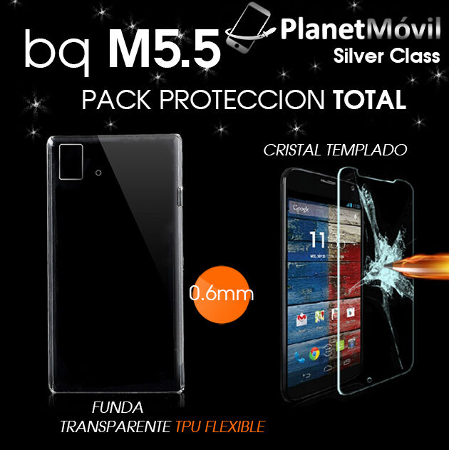 PACK COVER TRANSPARENT TPU GEL + PROTECTOR GLASS TEMPERED BQ AQUARIS M5.5 5.5