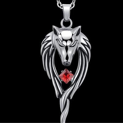 Wolf Hand Crystal Stainless Steel Punk Pendant Necklace for Men Jewelry Fashion - Wolf Pendant