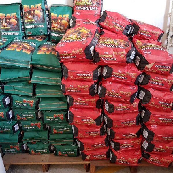 charcoal and briquettes 4kg bags R30.00 per bag