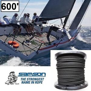 "NEW SAMSON AMSTEEL 1/2"" MARINE ROPE 600' FT. BLACK SINGLE BRAID 34000 LBS BREAKING STRENGTH - ROPES BOATING SAILING"
