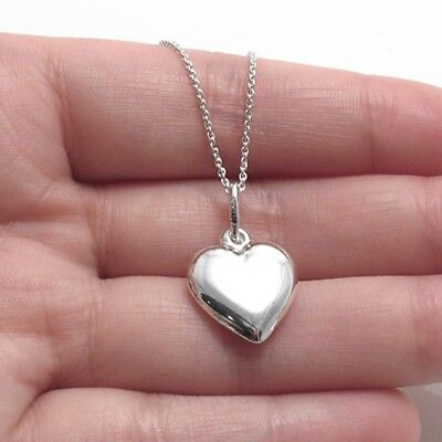 925 Sterling Silver Medium Puffed Heart Charm with Necklace