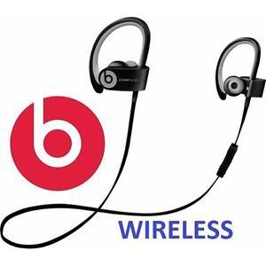 USED BEATS POWERBEATS2 EARPHONES - 116978742 - WIRELESS BLUETOOTH EARBUDS IN EAR HEADPHONES BLACK SPORT