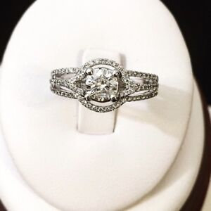 18K White Gold Halo Diamond Engagement Ring / Valued at $7,600