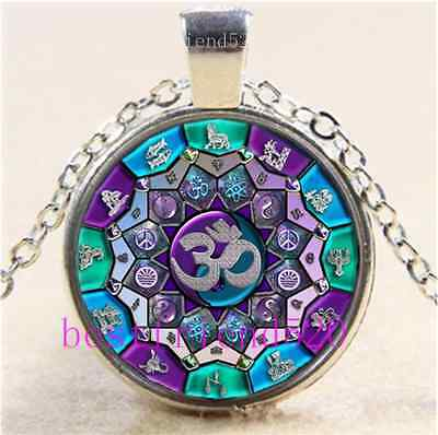 Om Independence Mandala Cabochon Glass Tibet Silver Chain Pendant Necklace