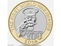 THE FIRST WORLD WAR 2£ Rare coin