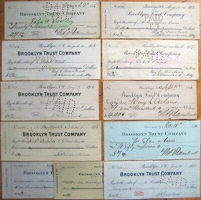 11 Bank Checks - 'The Brooklyn Trust Company,' New York, NY