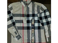 Burberry Brown Checked Cotton Shirt Size L