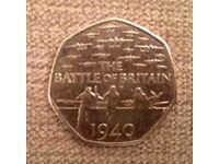 THE BATTLE OF BRITAIN 1940 RARE 50P COIN
