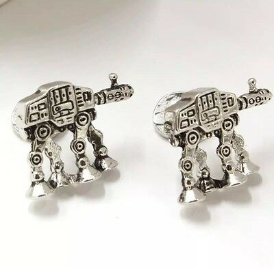 Cufflinks Star Wars 7 AT-AT Terrain Armoured Transport silver T Robot Cuff Links