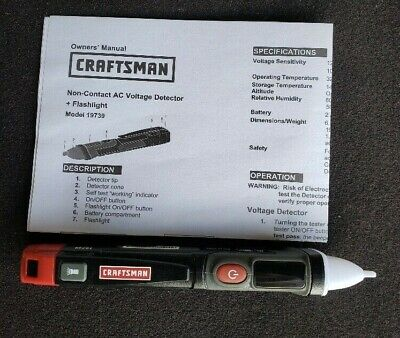 Craftsman Non-contact Ac Voltage Detector With Flashlight 19739 New