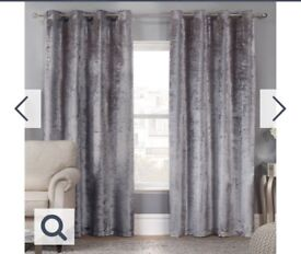 Silver velvet curtains