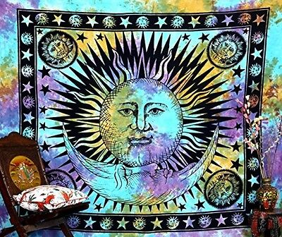 Psychedelic Celestial Indian Sun Hippie Hippy Tapestry Wall Hanging Throw Tie