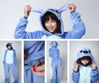 Blue stich Unisex Adult Pajamas Kigurumi Cosplay Costume Animal Sleepwear