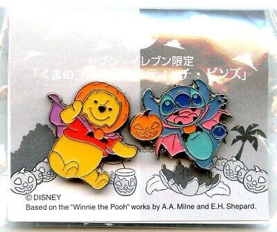 Japan 7-11 Stores Halloween Winnie-The-Pooh & Stitch Pin Set - Halloween Winnie The Pooh