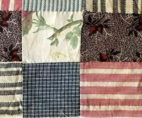 Antique Quilt Block Red White Blue Early Fabrics Hand Pieced USA  American Flag
