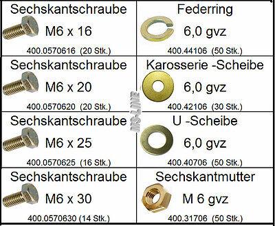 Sortiment DIN-Norm Teile M6 gelb verzinkt 252 tlg (Mutter, Schrauben, Federing)