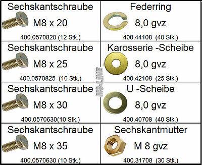 Sortiment DIN-Norm Teile M8 gelb verzinkt 200 tlg (Mutter, Schrauben, Federing)