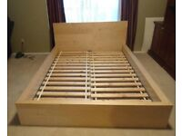 Ikea MALM Double Bed - Light wood finish with mattress