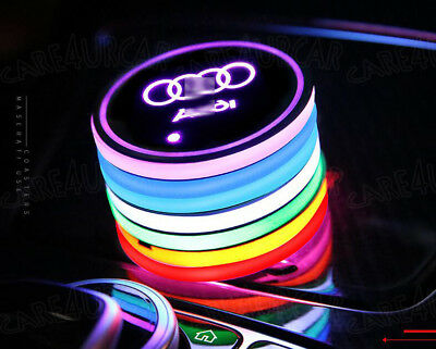 2PCS Colorful LED Car Cup Holder Pad Mat for Audi Auto Atmosphere Lights