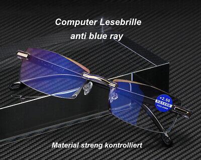 Leichte randlose Computer Lesebrille Anti-Blu-Ray Damen Herren 2 Farb. +1,0/+4,0 ()
