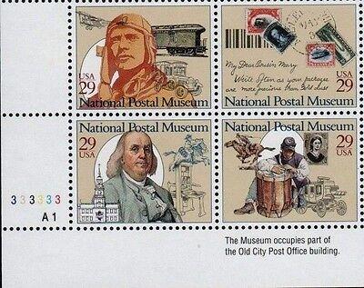 US NATIONAL 1993 SCOTT #2779-2782  29c POSTAL MUSEUM MINT NH 4 STAMP PLATE BLOCK