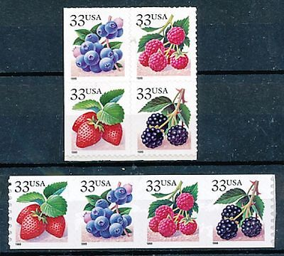 TIMBRE STAMP ZEGEL U.S.A. AMERIQUE FRUITS DIVERS 2874-77 2878-81 X 2 XX