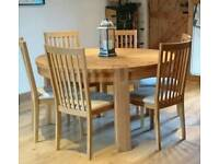SOLD - Solid Oak Round 6 Sester Dining Table and Chairs