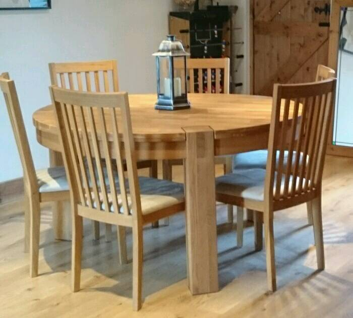 SOLD   Solid Oak Round 6 Sester Dining Table And Chairs