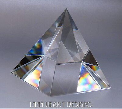 GIANT CLEAR FINE CRYSTAL PYRAMID PRISM PAPERWEIGHT 80MM RAINBOW MAKE RARE FIND
