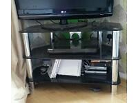 Tv stand silver and black glass